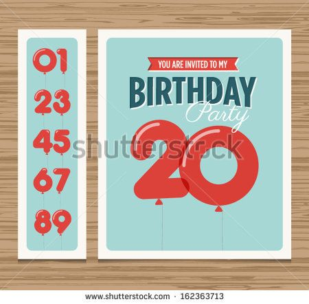 Birthday party invitation card, balloons numbers, vector design template by newcorner, via Shutterstock