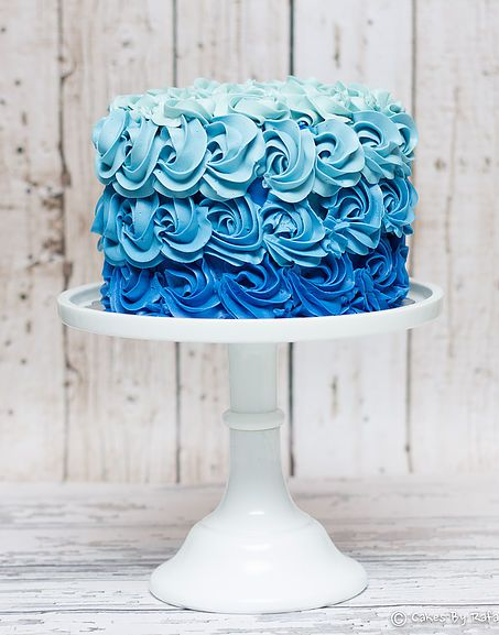 Rosette blue Ombre cake - For all your cake decorating supplies, please visit craftcompany.co.uk