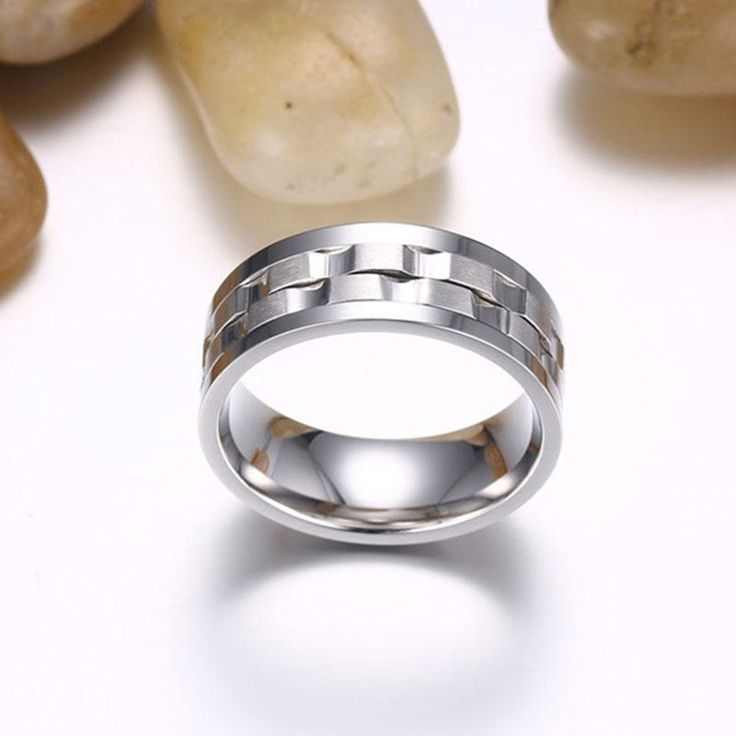 Golden Gear Ring Rotatable Silver Color Stainless Steel Ring at Banggood