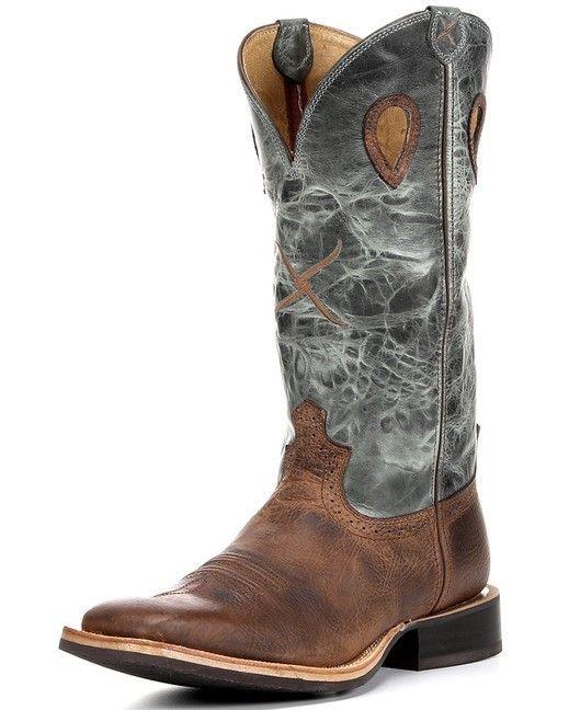 Twisted X Boots Men's Ruff Stock WS Toe 14'' Boot - Cognac / Denim