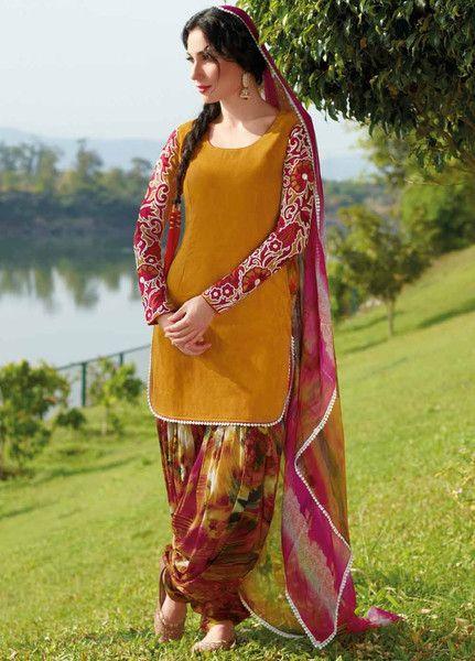Yellow Shaded Cotton Punjabi Suit