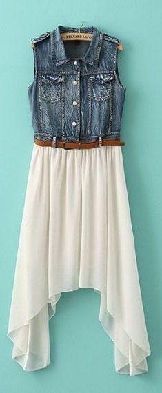 Denim Hi-Lo Belted Dress ♥