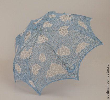 Зонт Легкая облачность!. Необычный ажурный кружевной зонтик с облаками укроет Вас от яркого летнего солнца, отличный аксессуар для свадьбы или фотосессии. Купол зонта выполнен в технике ирландского кружева. На заказ возможно исполнение в любом цвете и размере.