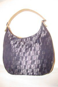 b90fdc29aad02d Fendi Mint Condition Shoulder Zucchino/Small Canvas/Leather Unusual Style Hobo  Bag