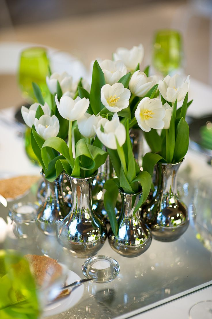 White Tulips Spring Wedding Theme Natural Nature Table Decor Flowers Colors By The Sea Marry Abroad Ideas
