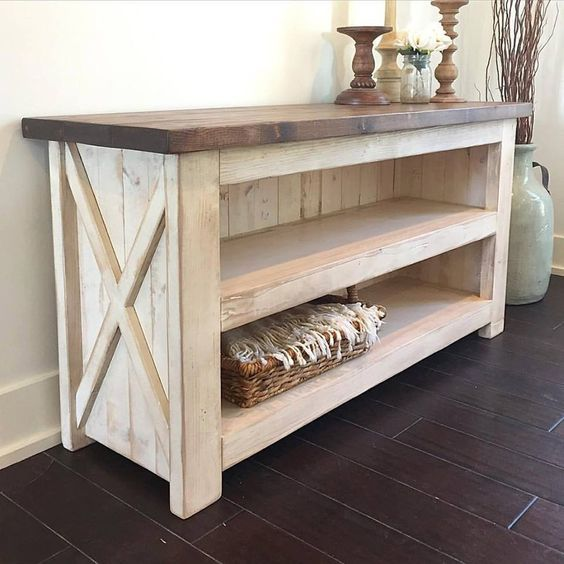 I love the color of the top and the bottom. I like the farm style with the x on the sides. I wouldn't necessarily need the shelves unless I decided to use the table somewhere other than behind my daybed.