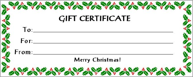 Christmas Blank Gift Certificate Template Free