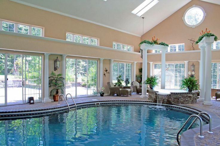 Swimming Pool Contemporary Indoor Design With Fresh Environment Plus Jacuzzi And Green Plant Also