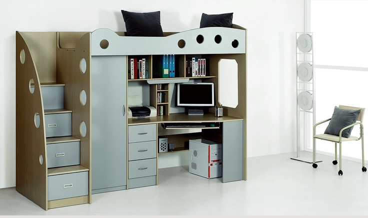 lit compact enfant avec placard et bureau domi gris chloe design d co ados pinterest. Black Bedroom Furniture Sets. Home Design Ideas
