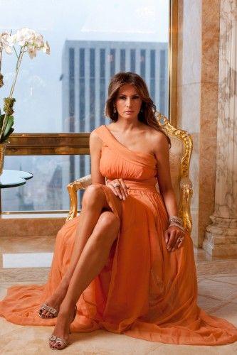 Melania Trump via Refinery29: (Valentino dress, Manolo Blahnik shoes, Melania Trump jewelry)