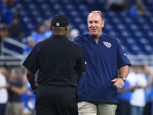 Titans coach Mike Mularkey and Lions coach Jim Caldwell