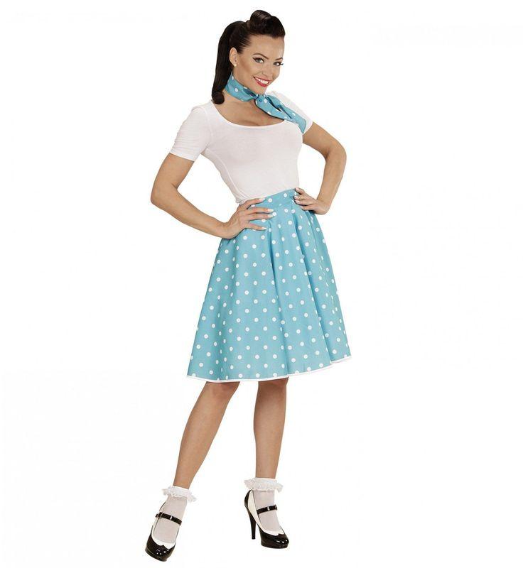 Sweetie-Pie 50s Rock And Roll Rok Met Nekband, Lichtblauw Vrouw Kostuum