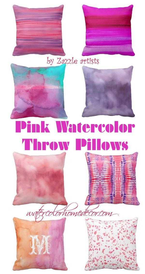 Pink and Purple watercolor pillows   Watercolor Home Decor