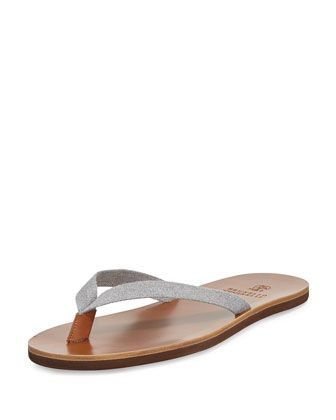 Men's Leather-Sole Flip-Flop, Gray by Brunello Cucinelli at Bergdorf Goodman.
