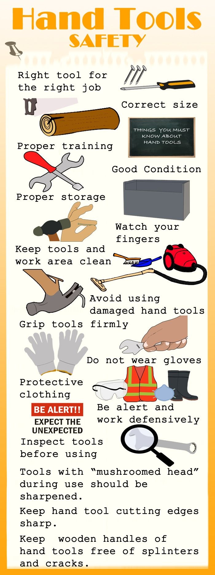 Hand tools can cause injuries because of the wrong and damaged tools.