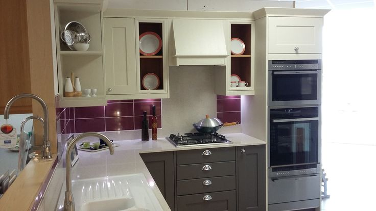 STUDIO Thornton Painted Oak Kitchen with Ceramic Sink on display in our Redruth Showroom, Cornwall