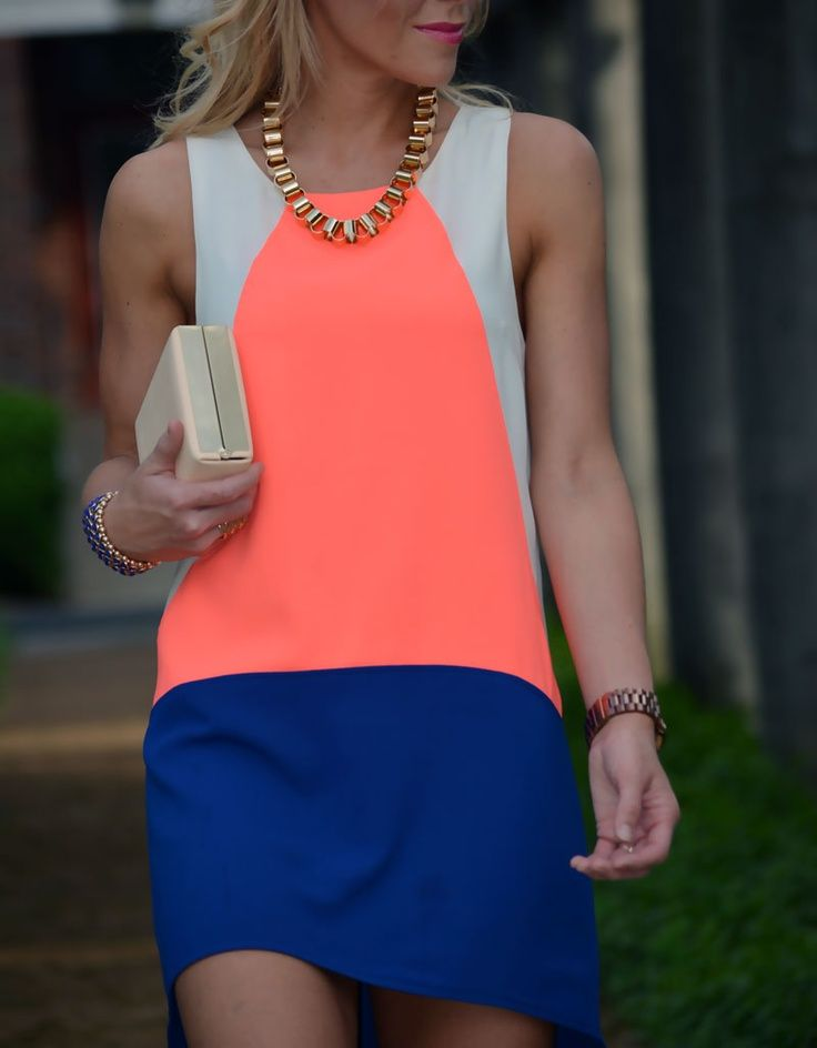 Color-blocked shift dress women's fashion. Career style. Outfits
