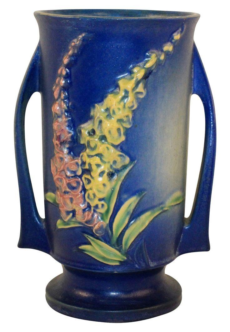Roseville Pottery Foxglove Trial Glaze Blue Vase 48-8                                                                                                                                                                                 More