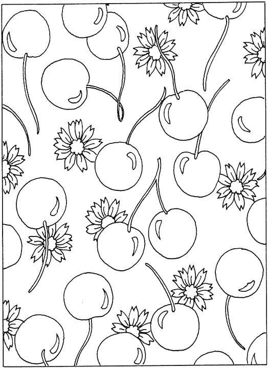 kirschenmitblumenmalvorlagen 524×719  Раскраски