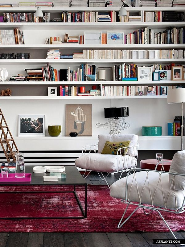 bookshelves and chairs