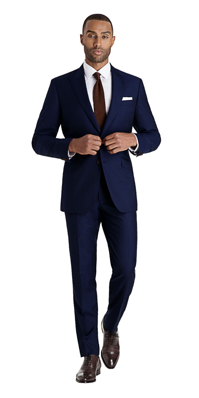 Get this blue herringbone suit made to your exact measurements and customized exactly the way you want it.