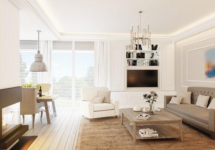 Wystrój wnętrz w stylu Hampton. Białe, klasyczne meble zostały skontrastowane nowoczesnymi lampami w industrialnym stylu.