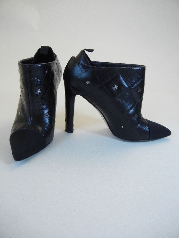 """Chanel (Sz. 38) Black Quilted Leather w/ CC & Crystal Ankle-Boots Heels Booties. By Designer: Chanel. Clean Fresh Gently-Worn, with a """"barely-worn look/feel"""", noting a significant heel nic that a pro can fix, a missing CC, a few missing crystals, and some light upper/inner back scuffs, shoes totally present beautifully with no stand-out wear except for the heel nic.   eBay!"""