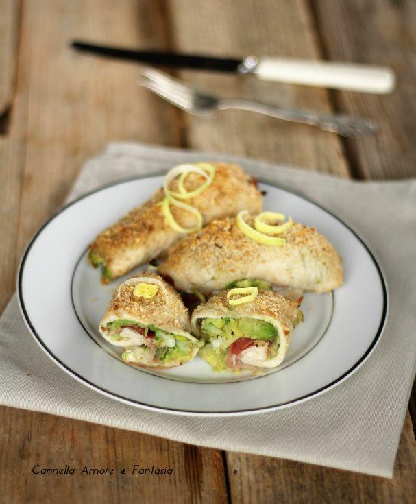 Involtini di pollo con speck avocado e porro ricetta
