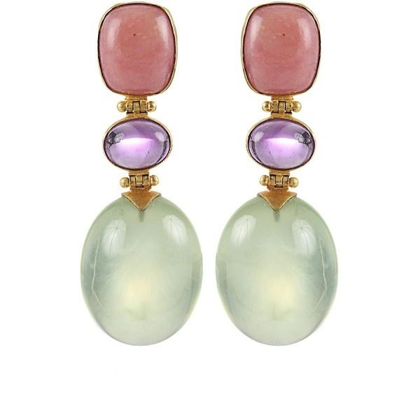 Arunashi Pink Opal, Amethyst and Prenite Earrings