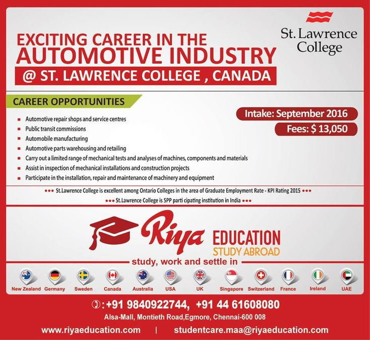 Exciting career in the Automotive Industry at St.Lawrence college, Canada. Intake on September 2016 !!! This a best study option for those who wish to study abroad. For more details get in touch with Riya Education.