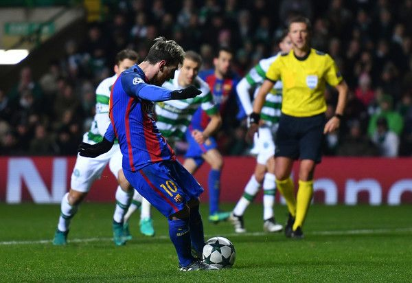 Lionel Messi of Barcelona scores his sides second goal from the penalty spot during the UEFA Champions League Group C match between Celtic FC and FC Barcelona at Celtic Park Stadium on November 23, 2016 in Glasgow, Scotland.