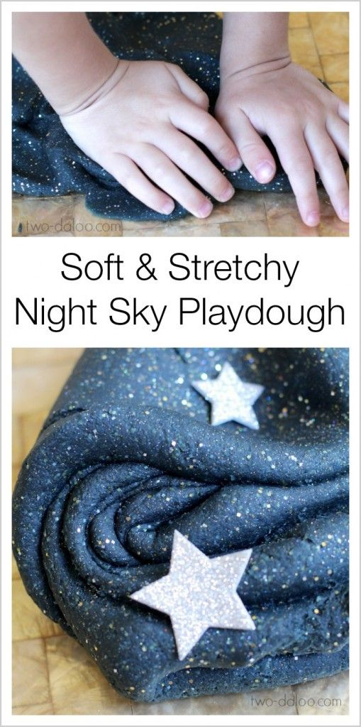 Stretchy and shiny playdough that looks just like a starry night sky - perfect for preschoolers!