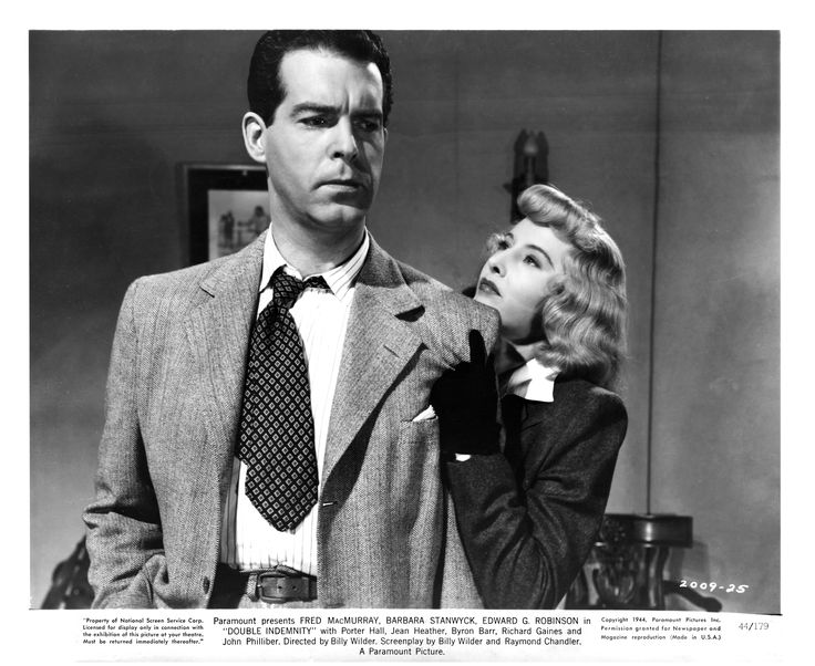 """""""Double Indemnity"""" (1944) film still, © Paramount Pictures. Courtesy of the Margaret Herrick Library, Academy of Motion Picture Arts and Sciences. Shown from left: Fred MacMurray, Barbara Stanwyck."""