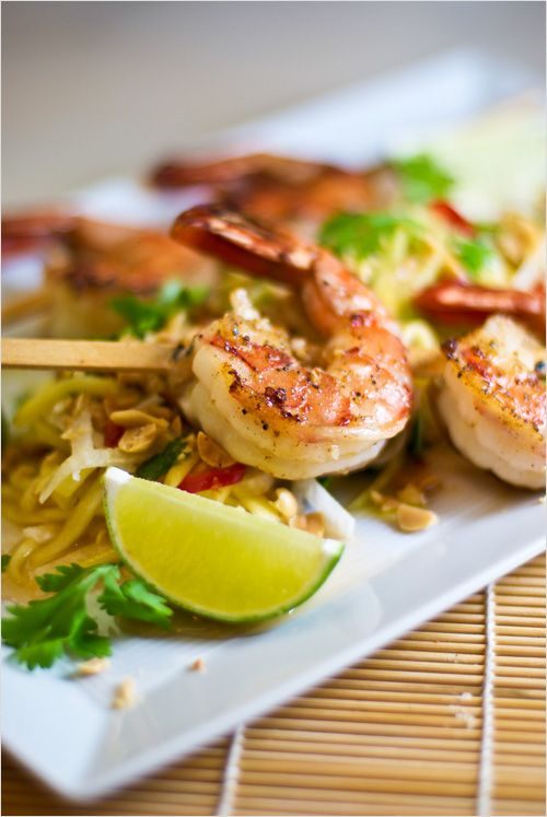 Grilled Shrimp with Green Papaya and Mango Salad recipe - To finish it off the salad is tossed with a delicious Vietnamese dressing made with lime juice, garlic-chili powder and nam pla and the whole thing is sprinkled with chopped peanuts. #Vietnamese #salads #spicy