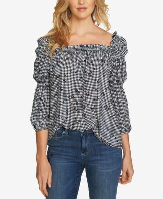 3f643a7c096efa CeCe Cotton Printed Square-Neck Blouson Top - Tops - Women - Macy s