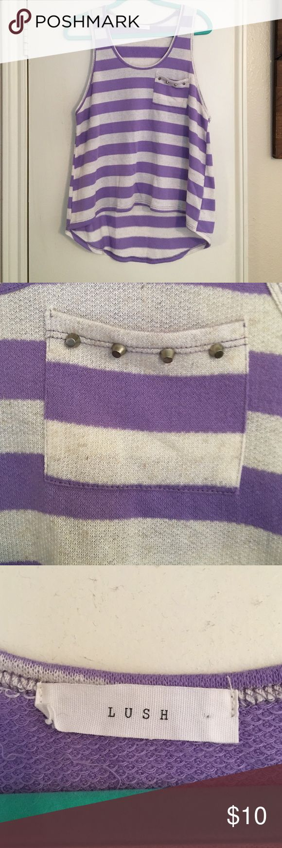 Striped Tank Top Light purple and white striped tank with pocket and studded detail. Only worn twice. Lush Tops Tank Tops