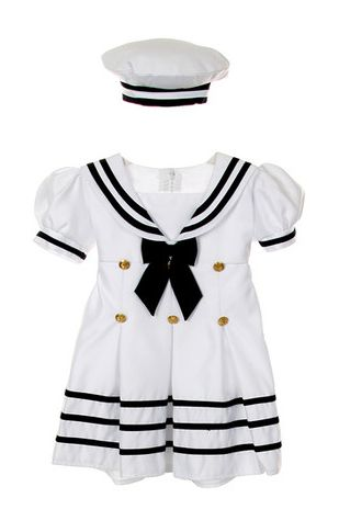 Are the Flower Girls/Ring Bearer my chance to have fun or should they be formal? :  wedding flower girl dress gold nautical theme navy ring bearer rope belt stripe ribbon sash white Nauticalflowergirl @Denitra Nicole