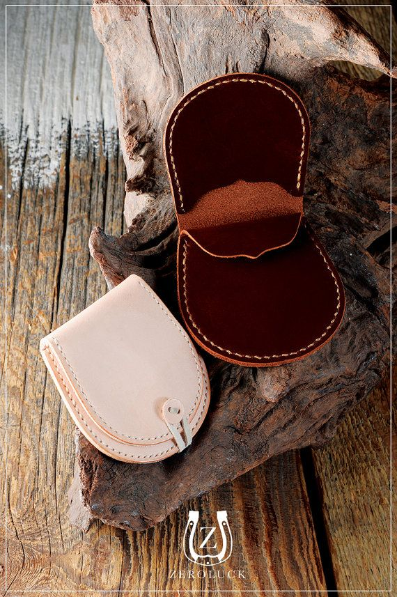 Stitch up an easy-peasy coin purse with this simple leather kit. #etsy #DIY