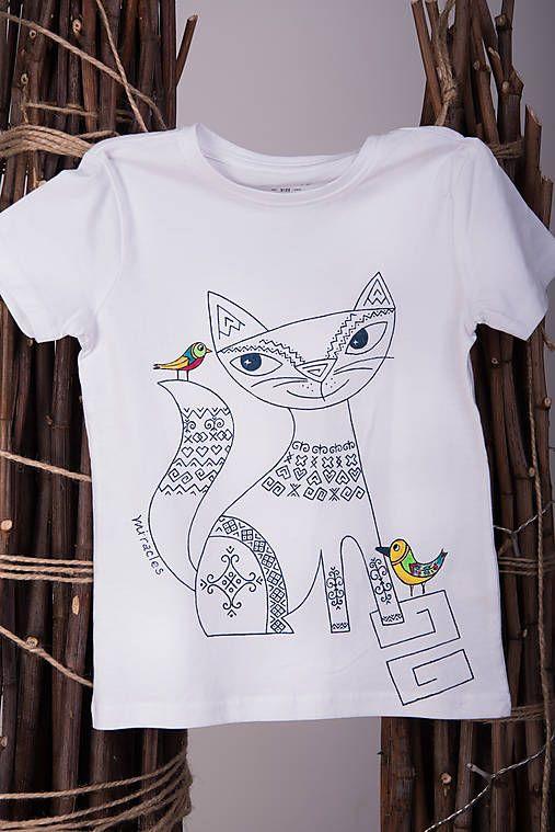 f0b45cd8e Maľované tričko mačička - folk #detskamoda#jedinecnesaty#handmade #originalne#slovakia#slovenskydizajn#móda#šaty#original#fashion#dress#modre#ornamental#  ...