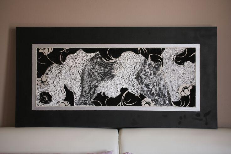 Pittura materica Quadro 120x60 tecnica mista stoffa, stucco, acrilici, cristalli su tela