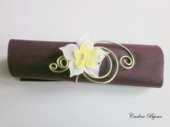 Emma -  5 ronds de serviettes marque place Bracelet cérémonies maria