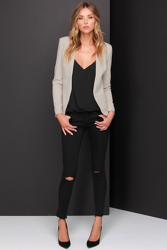 Moment's Notice Light Taupe Cropped Blazer at Lulus.com!