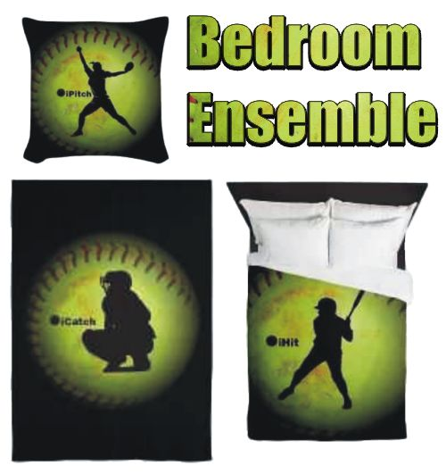iWant Pillows! Curtains! Duvets! Oh my! I'm dreaming of a softball bedroom. #softballgifts #fastpitchsoftball
