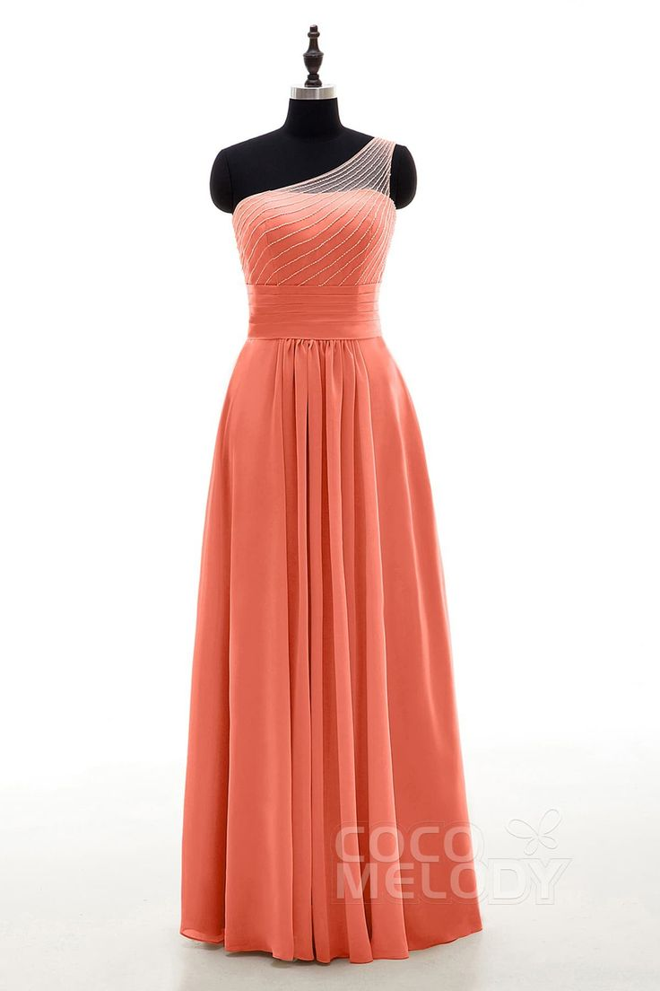 Sheath One Shoulder Natural Floor Length Chiffon Sleeveless Zipper Bridesmaid Dress Beading COZF1409A #bridesmaiddresses #bridesmaids #cocomelody #customdresses #coraldresses