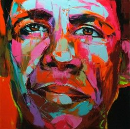 OBAMA 2010 39.4X39.4 inches Artwork visible at: FRANCE Artwork unsold Oil on canvas, palette knife technique