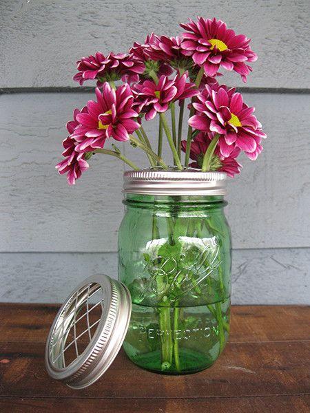Mason Jar Vase with Flower Frog