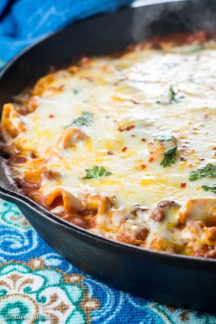 Cheesy Tortellini Skillet Lasagna ~ http://FlavorMosaic.com