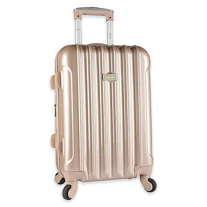 Kensie Metallic 20 Inch Hardside Spinner Carry On Luggage Bed