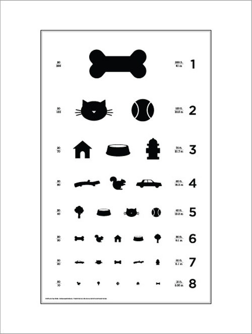 Dog Eye Chart designed by Local Paper Studio. This charming black and white eye chart poster features all of your pups favorite things.