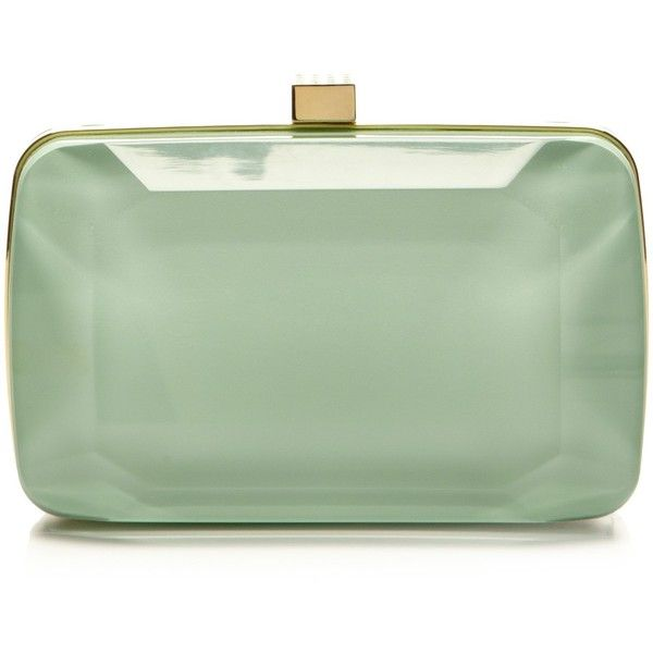 Elie Saab Mint Small Stone-Shaped Plexi Clutch ($1,725) ❤ liked on Polyvore featuring bags, handbags, clutches, bolsas, elie saab, lucite purse, green clutches, mint purse, chain strap purse and chain handle handbags